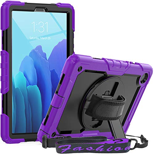 SEYMCY Case for Galaxy Tab A7 10.4 Inch 2020, SM-T500/T505/T507 Case, 360 Degree Rotating Strap Kickstand Cover Heavy Duty Shockproof Kids Case with Screen Protector/Pen Holder, Black/Purple