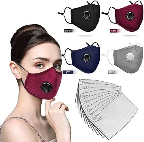 4 Colors Face Mask with Breathing valve with Activated Carbon Filter Replaceable Filters Haze Dust for Adults/Child