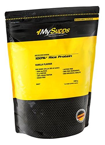 MySupps- 100% Rice Protein, hochwertiges & veganes Eiweiß, 4200mg BCAA pro Portion, hochdosiertes Aminosäureprofil, Zucker-Laktose- und GMO Frei, Made in Germany- 1000g (Vanille)