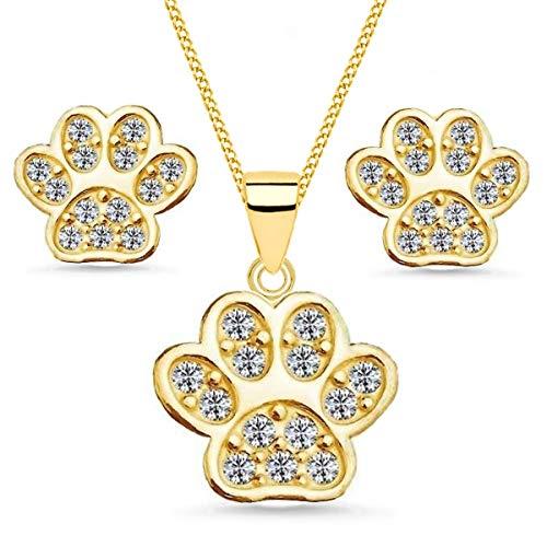 Pfötchen Set veredelt mit Kristallen von Swarovski® Anhänger Kette Ohrstecker 925 Silber Pfote (Schmuckset/Gold, 38)