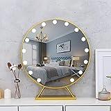 LPing Espejo de Maquillaje de vanidad Iluminado Hollywood de 40/50/60 cm con Luces LED para tocador de Maquillaje Juego de Enchufe,Espejo cosmético de Mesa Regulable,Dorado