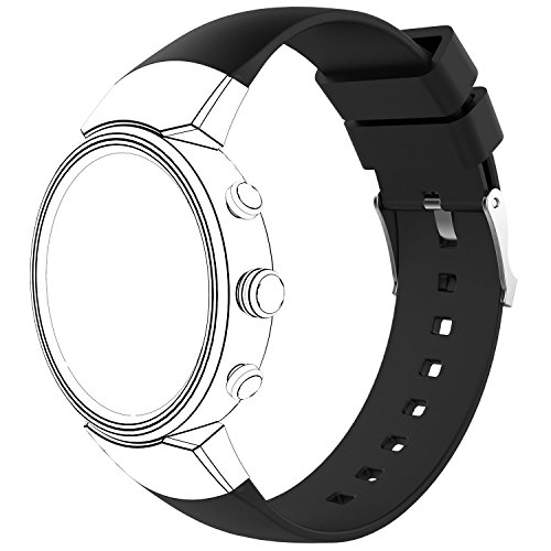 AWINNER Sport Bands Compatible for ZenWatch 3,Replacement Band Perforated Breathable Accessories Fitness Wristband Fashion Strap Compatible for ASUS WI503Q-SL-BG ZenWatch 3 Women Men (Black)