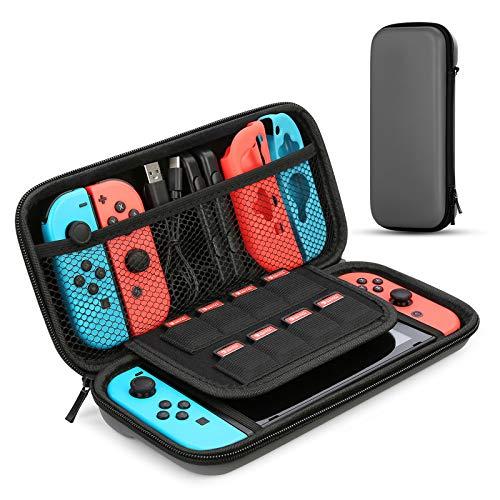 HEYSTOP Tasche für Nintendo Switch, Nintendo Switch Tragetasche mit Mehr Platz, Schutzhülle Hülle Case für Nintendo Switch Zubehör ,Grau