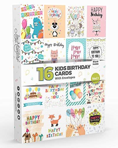 Joy Masters™ Biglietti di Auguri per Bambini Assortiti – Set di 16 Biglietti di Buon Compleanno con Busta – Interno Bianco – Vol. 1