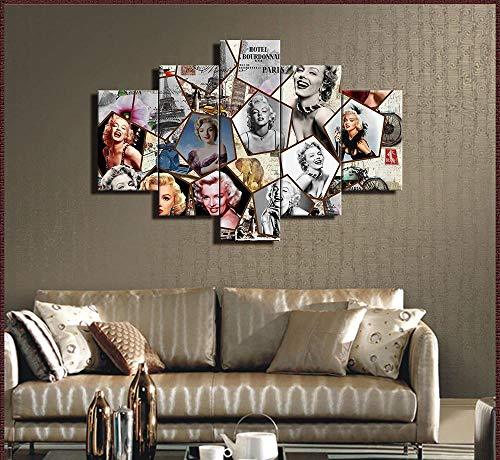 SILUYU-Leinwanddrucke,5 Stück Marilyn Monroe Wandkunst Bild Vintage Merlin Poster Leinwandbilder Drucke Kunstwerk Für Wohnzimmer Schlafzimmer Home House Decor Kunstwerk,Mit Rahmen,Größe S:100 * 50Cm