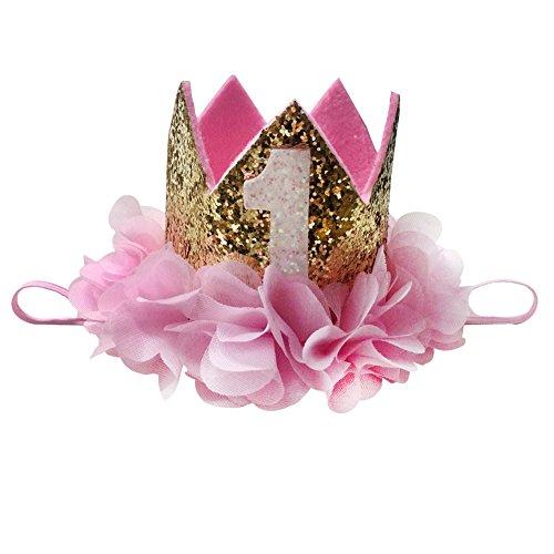 Rainbow Birthday Crown, Baby Princess Tiara Crown for Girl Headband 0-9 Birthday