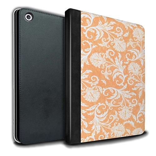 Stuff4 PU Lederen Boek/Cover Case voor Apple iPad 9.7 (2017) tablets/Oranje Achtergrond Design/Bloemenpatroon Collectie