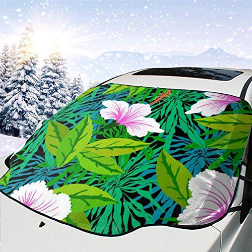 AEMAPE Patrón Tropical con Flores Blancas de Hibisco 0 Parabrisas de Coche Cubierta de Nieve Cubierta de Hielo Parabrisas Parasol Protector de Parabrisas Impermeable para Camiones Suvs