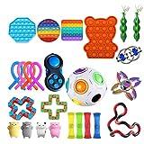 Fidget Toys Pack Barato, Antiestres Fidget Toy Set, Fidget Toy Set con Pop it Cubo de malla de mármol Cuerda elástica Fidget Juguetes sensoriales Surtido de juguetes especiales para niños y adultos