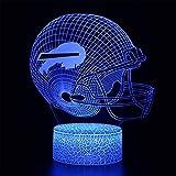 Lampe de nuit 3D avec télécommande et casque de rugby - 16 couleurs changeantes - Cadeau de Noël, Halloween, anniversaire - Pour enfant, bébé fille