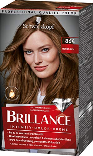 Brillance Intensiv-Color-Creme Haarfarbe 864 Rehbraun Stufe 3, 3er Pack(3 x 160 ml)