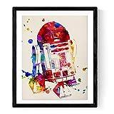 Nacnic R2-D2 Aquarell Poster. Wasserfarbe Stil