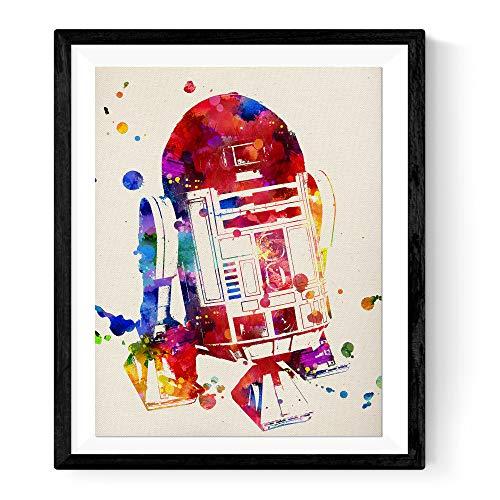 Nacnic stampa artistica in stile acquarello tema Guerre Stellari personaggio R2-D2. Immagini film Star Wars su Carta da Decorazioni domestiche e camerette bamibini. Colori vivaci.