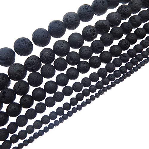 JulieWang schwarze natürliche Energiesteine / Lavasteine, zur Schmuckherstellung, Heilkraft, 4 -20mm 4 mm Schwarz