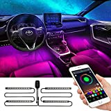 Interior Car Led Strip Lights - APP Controller Lighting Kits Multi-color Music Car Strip Light with Sound...