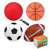 INPODAK Lot de 4 balles pour enfant avec pompe - Mini ballon de basketball, mini football, mini balle de jeu, mini rugby pour enfants - Convient pour les jeux d'intérieur et d'extérieur.