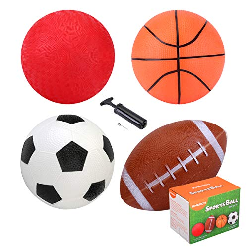 INPODAK Pack of 4 Toddler Balls with Pump, Includes 5 Inches/12.5 cm PVC Football-Basketball-Playground Ball-Rugby Balls for Kids, Small Play Balls Suitable for Indoor Outdoor Garden Play