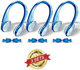 BLUPOND Swimming Nose Clips and Earplugs Mega Set of 3 Family Pack Pro Edition