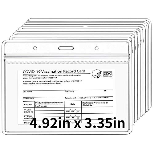 """10Pcs CDC Vaccination Card Protector Cover - 4.92"""" x 3.35"""" Horizontal Badge Holder -Clear PVC Waterproof Resealable Sleeve for Immunization Record/Pass/Ticket/ID Card/Photo BG0410"""
