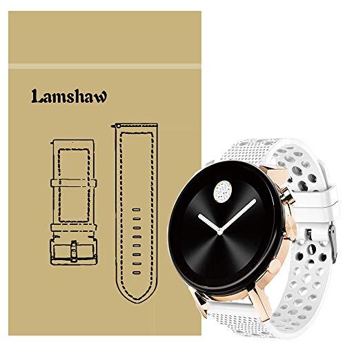 LvBu Armband Kompatibel Für Movado 2.0, Sport Silikon Classic Ersatz Uhrenarmband Für Movado Connect 2.0 Smartwatch 40mm / 42mm (Weiß)