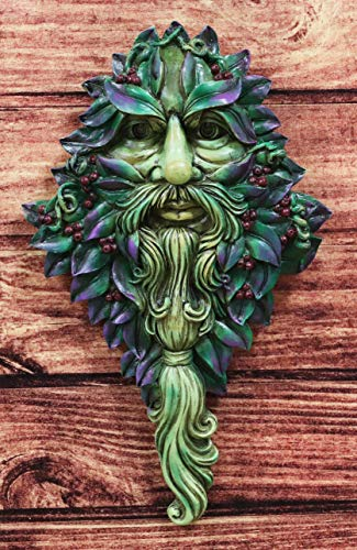 Ebros Nature Spirit God Celtic Winter Solstice Greenman Hanging Wall Decor Plaque 12.75' High Wiccan Tree of Life Forest Shepherd Horned God Cernunnos Ent Mythical Fantasy Decorative Sculpture