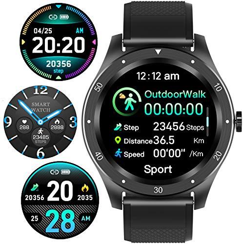 Smart Watch, Fitness Tracker Uhr IP67 Wasserdicht Activity Tracker Herzfrequenz Monitor/Sphygmomanometer Schrittzähler Damen Herren Schlafmonitor IOS/Android (schwarz)