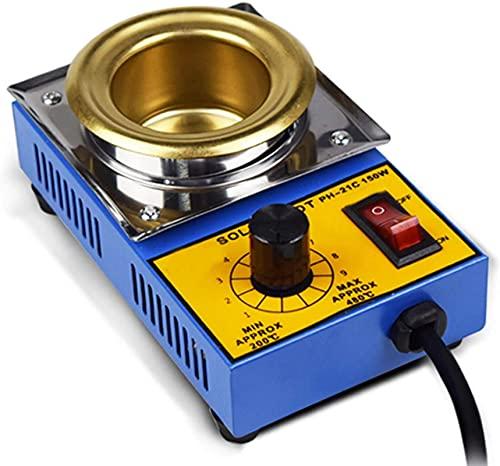 WSVULLD 150 W Horno de soldadura de temperatura ajustable, pote de hojalata de titanio de 50 mm, 500 g de capacidad, 200-580 □ Ajustable, núcleo de calentamiento de metal, soldadura de baño de desolda
