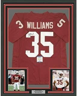 Framed Autographed Signed Memorabilia Aeneas Williams 33X42 Arizona Red Jersey Beckett COA