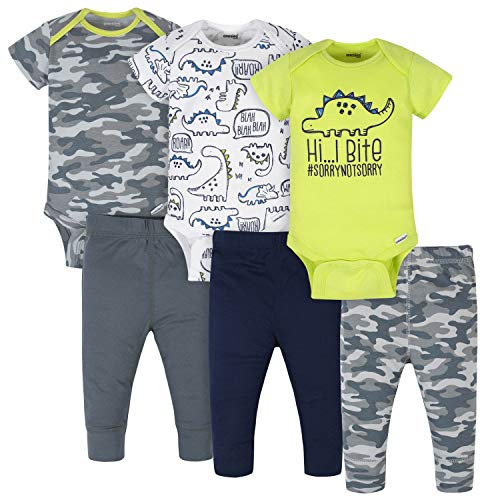 Onesies Brand Baby 3 Onesies 3 Pants Outfit Bundle Mix n Match Newborn to 12M, Grey Green Camo Dino, 12 Months