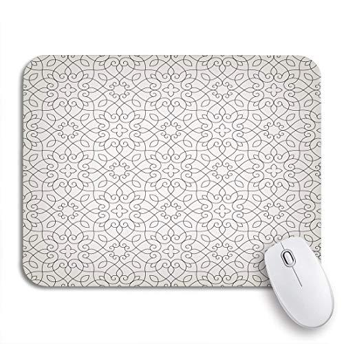 Gaming mouse pad muster lineare elegante linien und locken ziergitter barock rutschfeste gummiunterlage computer mousepad für notebooks mausmatten