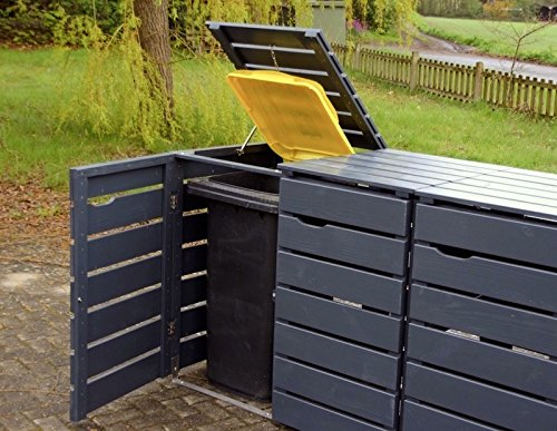 3er Mülltonnenbox / Mülltonnenverkleidung 120 L Holz, Deckend Geölt Anthrazit Grau - 2