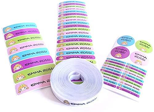 Pack 155 etiquetas personalizadas para marcar ropa y objetos. 100 Etiquetas de tela termoadhesiva + 55 etiquetas adhesivas de vinilo. (Color 9)