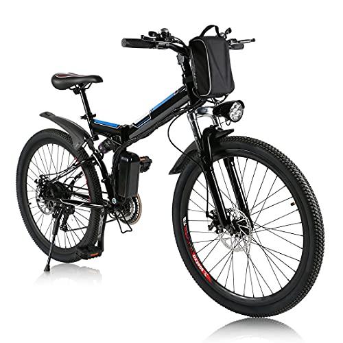 bici elettrica pieghevole da,26 pollici bicielettrica, mobile batteria al litio 36V / 8Ah E-bike,Sistema di cambio a 21 velocità (nero)