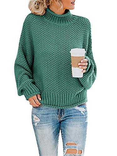 ORANDESIGNE Pullover Damen Elegant Winter Rollkragenpullover Strickpullover Grobstrickpullover Langärmeligem übergroßen Sweater Sweatshirt Herbst Winter A Grün XL