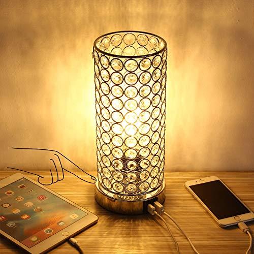 ENCOFT 2 USB Lámpara de mesa de cristal Touch Control Lámpara de escritorio con acento regulable Mesita de noche con bombilla LED (Cristal de plata)