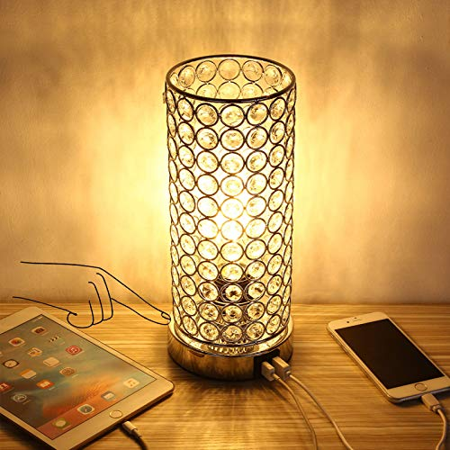 ENCOFT 2 USB Lámpara de mesa de cristal Touch Control Lámpara de escritorio con acento regulable...