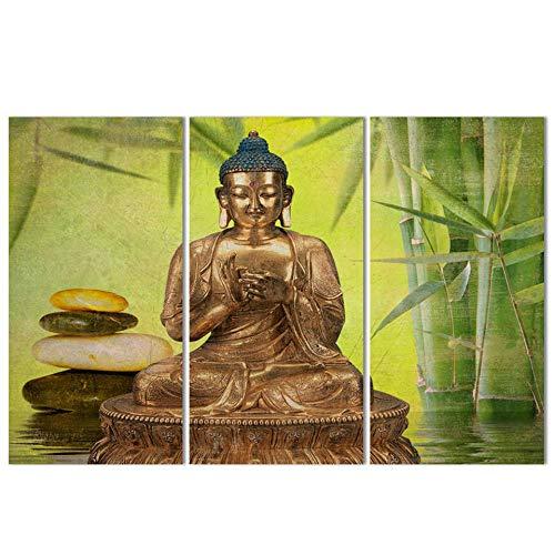 QUANQUAN 3 Paneles de Pintura de Pared Impresiones sobre Lienzo, 3 Piezas Lienzo Pintura,Agua de bambú de Buda Decoracion de Pared 3 Piezas Modernos Mural Fotos,Decoración para El Hogar