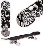 Oppikle Skateboard Komplettboard Mit ABEC-9 Kugellager Und 9-Lagigem Ahornholz 95A Rollenhärte Funboard FÜR Anfänger Und Profis - Belastung 100 KG (Schwarz)