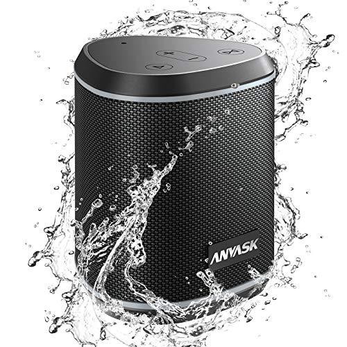 Bluetooth Lautsprecher IPX7 Wasserschutz, ANVASK 5.0 Tragbarer 360° Stereo Sound with TWS, Eingebautes Mikrofon, 24h Akku, Wireless Lautsprecher 15m Bluetooth Reichweite für Outdoor (Schwarz)