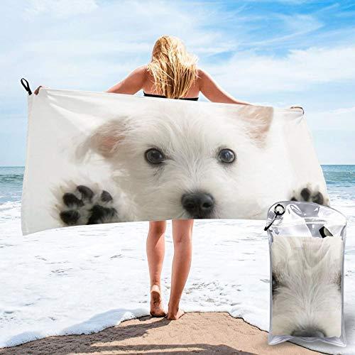 HNSENRUO Toalla de playa de secado rápido, toallas de baño ligeras de microfibra impresas con perro blanco, superabsorbentes para niños y adultos de 27.5 x 55 pulgadas