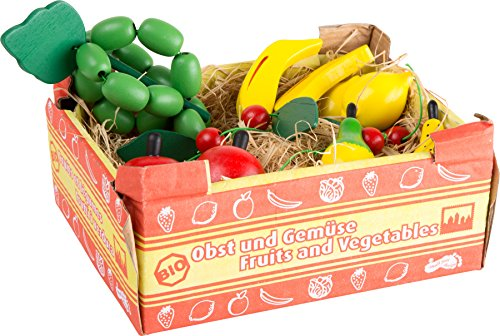 small foot 1646 Cageot de fruits, fruits en bois, idéal pour jeux de rôle, boutique marchande, boutique tante Emma, à partir de 3 ans