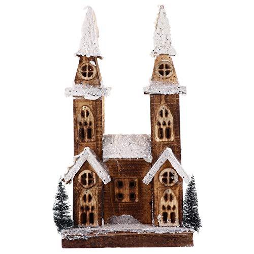 VOSAREA Weihnachten Holz Schloss LED Licht Klassik Holz Kirche Deko Holzhaus beleuchtet Weihnachtsdorf Weihnachtsstadt beleuchtetes Winterhaus Tischdeko Weihnachtsdeko Geschenk 42x21x11,5 cm
