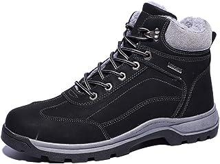 Dongxiong Men's Outdoor combat boots fashion casual high-top cotton shoes round toe non-slip frame velvet warm snow boots (Color : Black, Size : 47 EU)