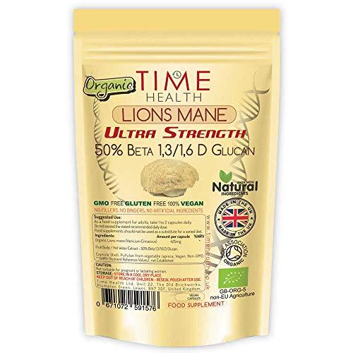 Lions Mane Organic - Ultra Strength 50% Beta 1,3/1,6 D Glucan, Pullulan (Hericium Erinaceus ) (60 Capsule Pouch)