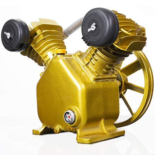 Stark 3HP 2-Piston V Style Twin Cylinder Replacement Air Compressor Head Pump, Single-Stage, Gold