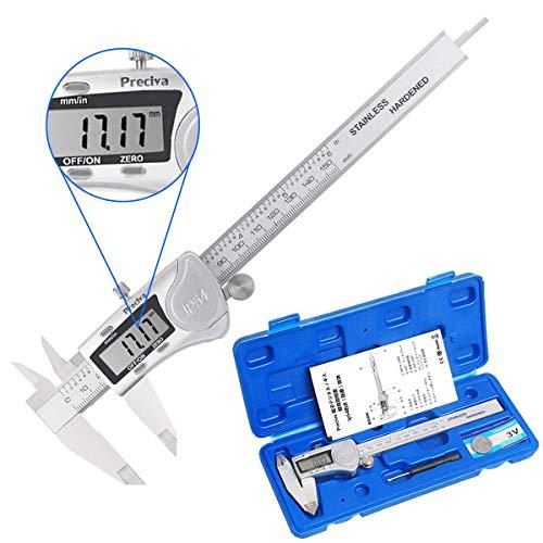 Preciva デジタル ノギス 150mm 内径/外径/深さ/段差測定 高精度 IP54防水 防塵 耐水性良い LCDディスプレ...