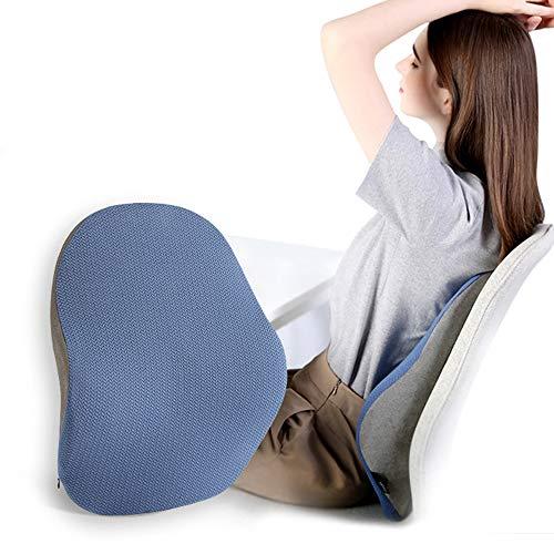 Lendenkissen Stützen Rückenkissen Bürostuhl Schlafkissen Memory Schaum für Rücken Füllungund Unterstützung Können Lindert Schlaf und Taille Beschwerden,Blau