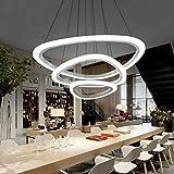 JINRU Colgante de luz LED, Lámpara de acrílico Moderna, Lámpara con Altura Ajustable Tres Anillos suspendido Dithable Colgante (luz Caliente) [Clase de eficiencia energética A +],Warm Light