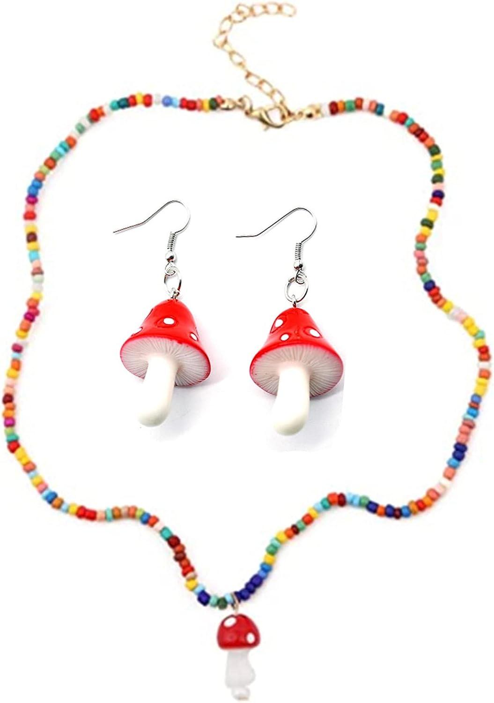 CHUXI Colorful Beaded Mushroom Pendant Choker Necklace and Mushroom Dangle Earrings Set, Boho Handmade Beads Mushroom Jewelry Set for Women Girls Teens