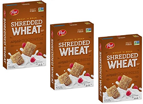 Pack of 3 - Post Shredded Wheat Spoon Size Wheat'n Bran Cereal 18 oz. Box